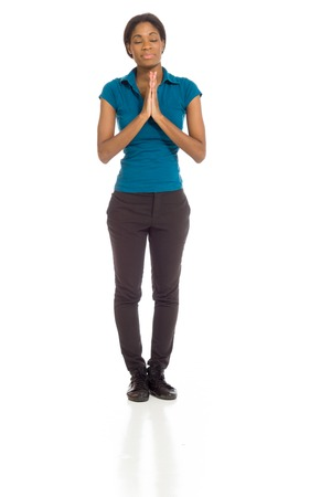 Model isolated praying photo