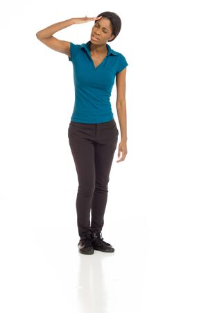 Model isolated with headache photo