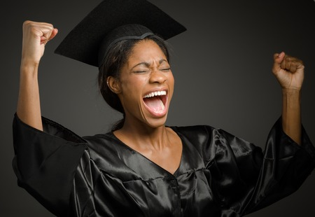 winning idea: Model isolated cheerful Stock Photo