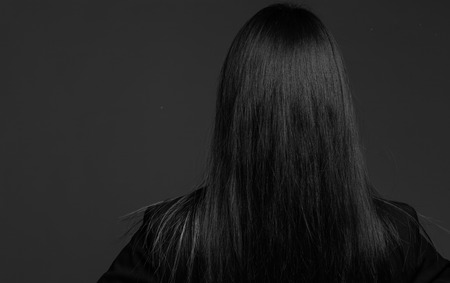 Model isolated showing her back Stockfoto