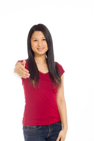 shaking out: Model isolated with hand shake