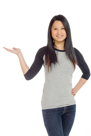 Model isolated hand gesture presenting photo