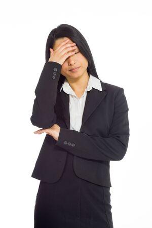 shame: Model hiding face shame