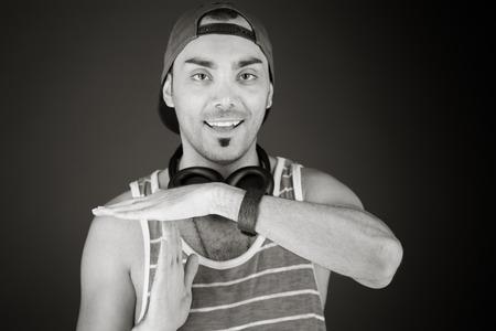model isolated on plain background hand gesture break sign Stock fotó