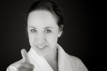 model isolated positive attitude thumbs up photo