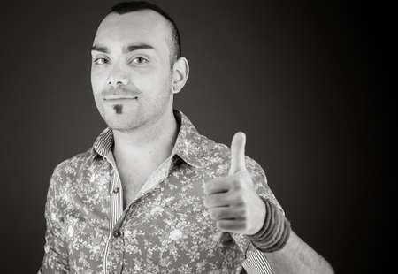 positive attitude: model isolated positive attitude thumbs up Stock Photo