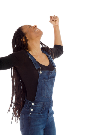 studio happy overall: Model happy successful arms in the air Stock Photo