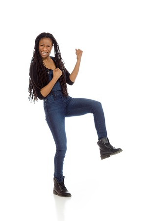 studio happy overall: Model isolated cheerful Stock Photo