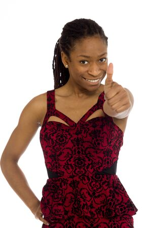 Model isolated thumbs up success photo