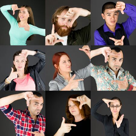 boring frame: Collage of different facial expressions Stock Photo