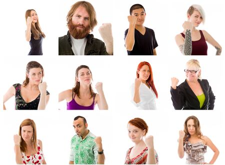 winning mood: Collage of different facial expressions Stock Photo