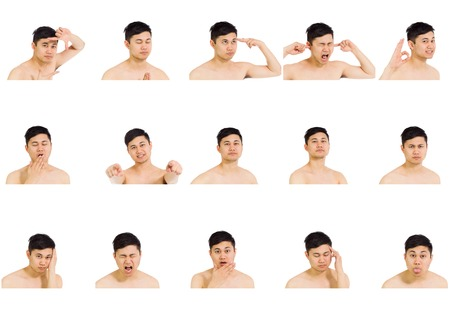 Collage of different facial expressions 免版税图像