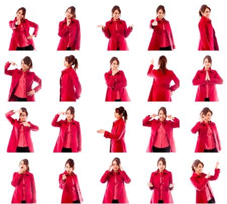 fille indienne: Collage de différentes expressions faciales Banque d'images