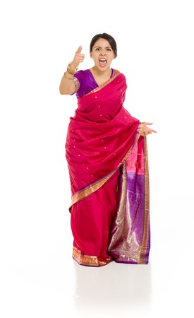 sari: Model angry scolding and pointing