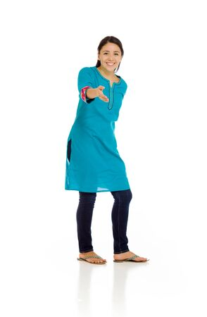 mexican dress: Model isolated with hand shake