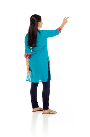 mexican dress: Model isolated back pointing Stock Photo