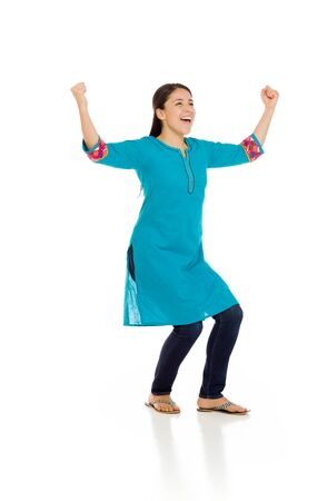 mexican dress: Model happy successful arms in the air Stock Photo