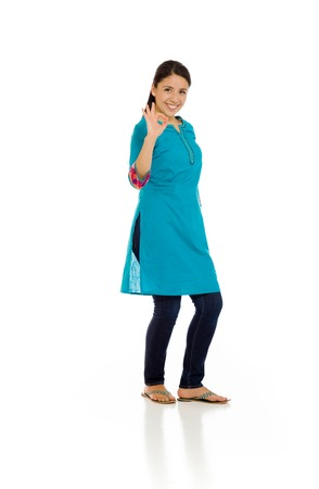 mexican dress: Model isolated ok sign