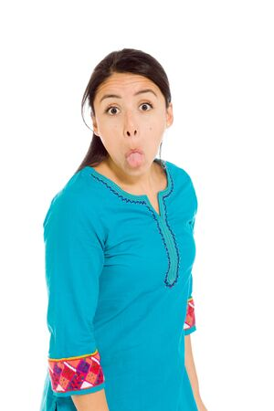 mexican dress: Model isolated sticking tongue out