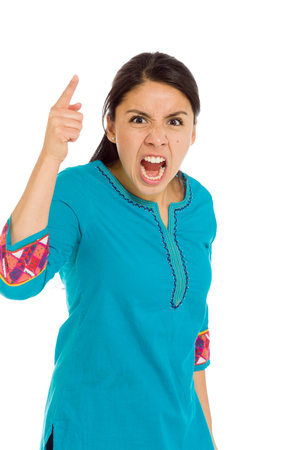 mexican dress: Model angry scolding and pointing