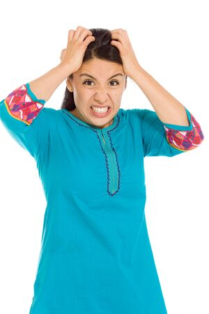 mexican dress: Stressed model pulling hairs