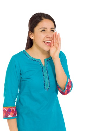 mexican dress: Model isolated talking shouting voice