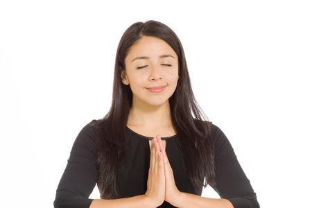 Model isolated praying Foto de archivo