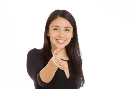 Model isolated with hand shake photo