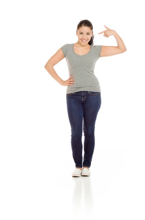 Model isolated pointing to herself