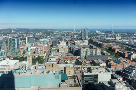 elevated view: Elevated view of cityscape during day, Toronto, Ontario, Canada