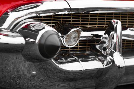 shiny car: Fog light of a shiny classic vintage car Stock Photo