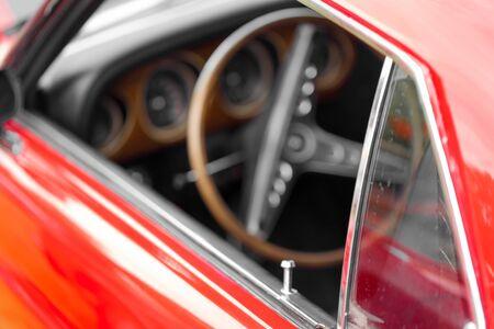 shiny car: Close-up of car door lock pin of a red shiny classic vintage car