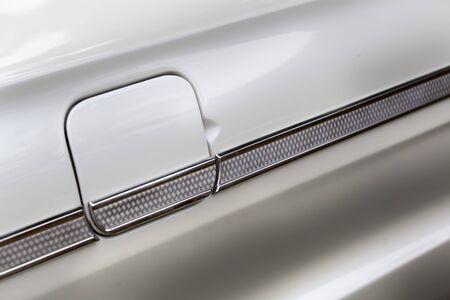 shiny car: Full frame shot of petrol tank of a white shiny classic vintage car