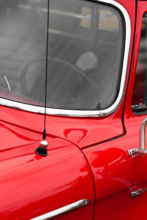 shiny car: Close-up of car antenna of a red shiny classic vintage car