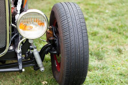 differential focus: Close-up of black tyre of a classic vintage car