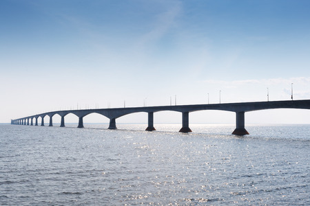 confederation: Confederation Bridge connecting Prince Edward Island to New Brunswick across the Northumberland Strait, Canada Stock Photo