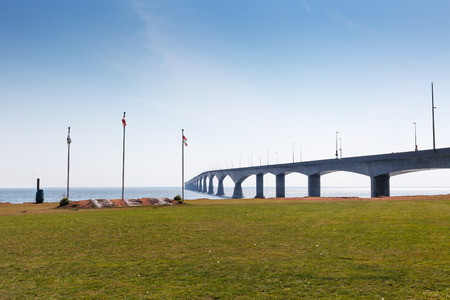 borden: Confederation Bridge connecting Prince Edward Island to New Brunswick across the Northumberland Strait, PEI MarineRail Museum, Port Borden Rail station Park, Borden, Prince Edward Island, Canada