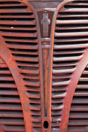 Full frame of radiator grille of a truck