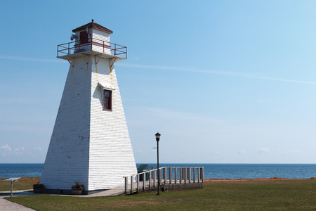 Lighthouse at coast, PEI MarineRail Museum, Port Borden Rail station Park, Borden, Prince Edward Island, Canada