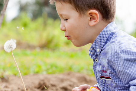 Profile view of a boy blowing seeds off dandelion