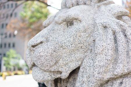 ontario: Close-up of lion statue, Toronto, Ontario, Canada Stock Photo