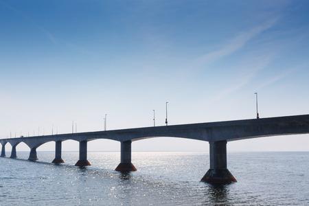 confederation: Confederation Bridge connecting Prince Edward Island to New Brunswick across the Northumberland Strait, Canada Stock Photo