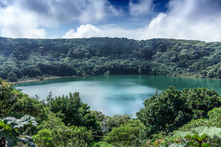 Elevated view of lake surrounding by forest, Costa Rica