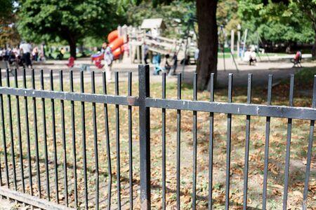ontario: Playground viewed through fence, Toronto, Ontario, Canada