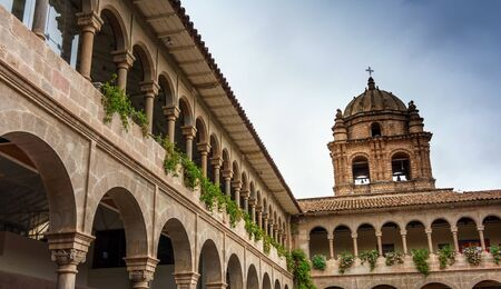 la compania: Low angle view of church against cloudy sky, Cusco, Peru Editorial