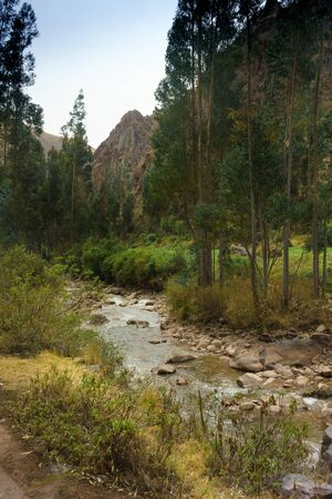physical geography: Stream passing through forest with mountain in background, Cusco, Peru