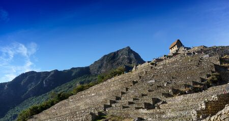 steps and staircases: Low angle view of staircase, Machu Picchu, Cusco Region, Urubamba Province, Machupicchu District, Peru