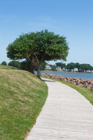 victoria park: Empty footpath at coast, Victoria park, Charlottetown, Prince Edward Island, Canada