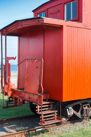 Historic Canadian national railway caboose, Prince Edward Island, Canada Imagens
