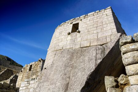 cusco region: Low angle view of sun temple, Machu Picchu, Cusco Region, Urubamba Province, Machupicchu District, Peru